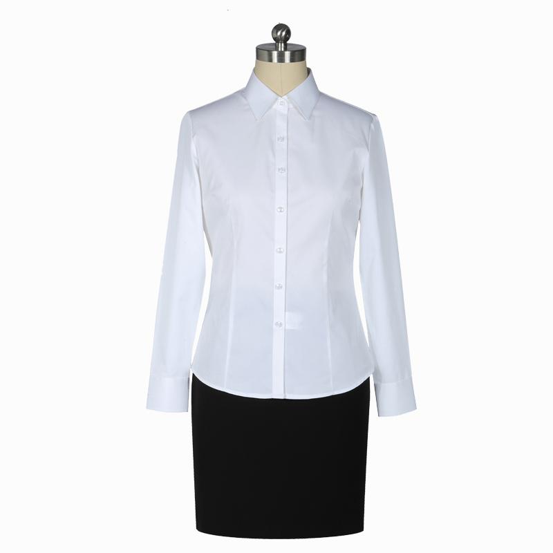 重庆女长袖白色正规领衬衫订制