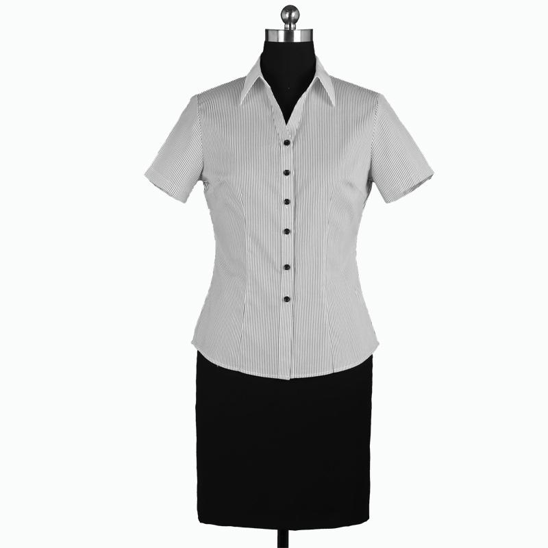 重庆女短袖V领黑白条纹衬衫