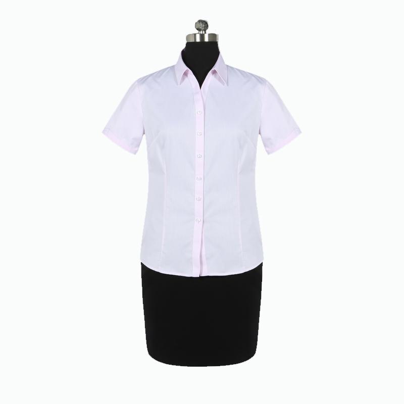 重庆女短袖V领粉色细斜纹衬衫