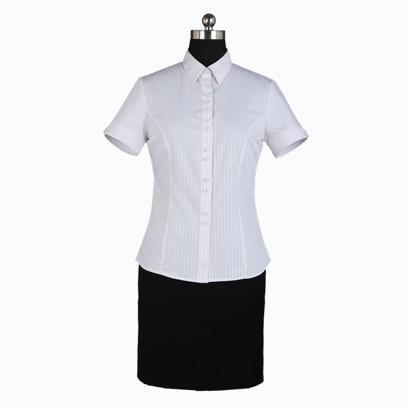 重庆女短袖正规领粉色条纹衬衫