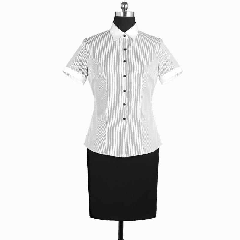 重庆女短袖正规领黑白条纹衬衫