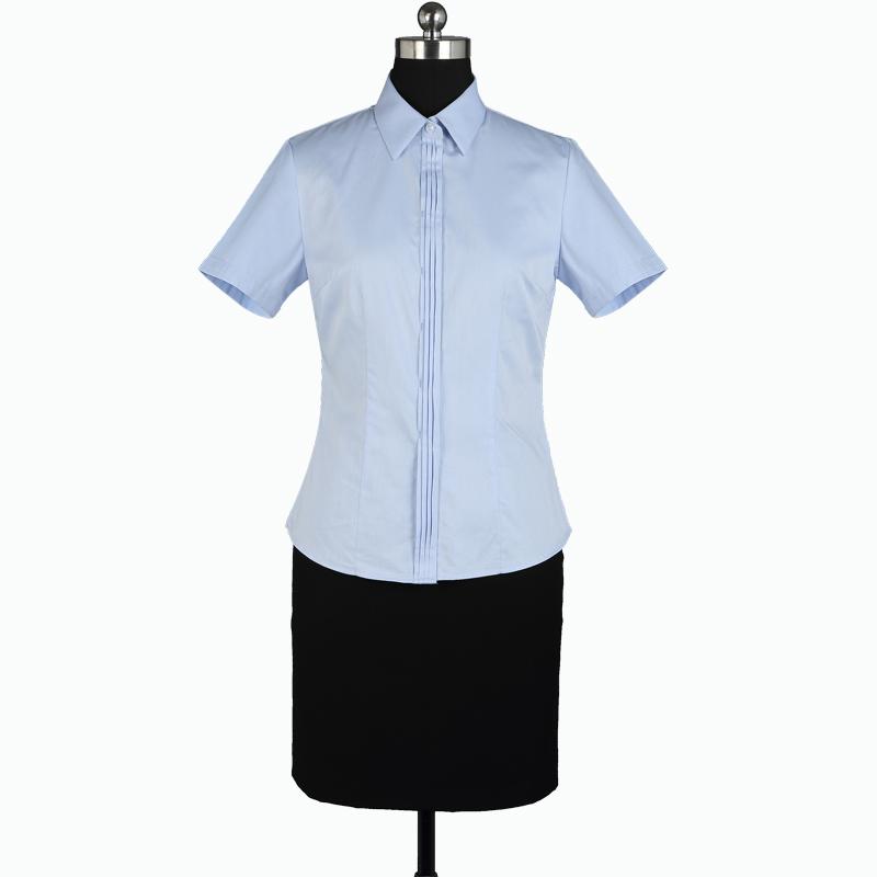 重庆女短袖正规领蓝色仿丝绸衬衫