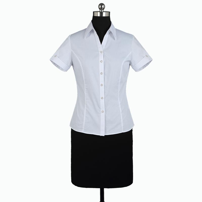 重庆女短袖V领白色竖条纹衬衫