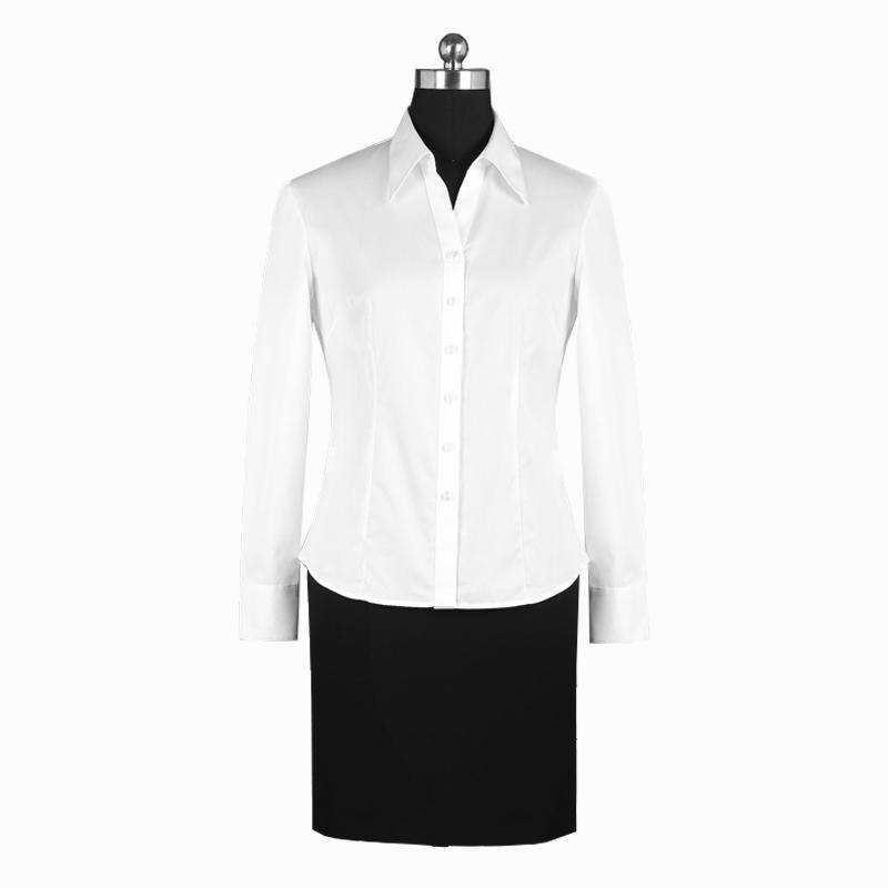 重庆女长袖白色V领女士衬衫订制